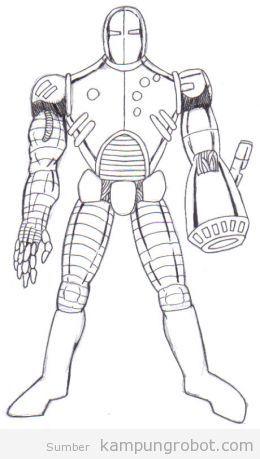 Sketsa Robot Kampung Robot